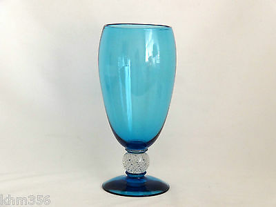Pairpoint Vase Uranium Glass Blue Turquoise Controlled Bubble