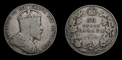 1910 Canada Silver 50 Fifty Cent Piece King Edward VII VG-8