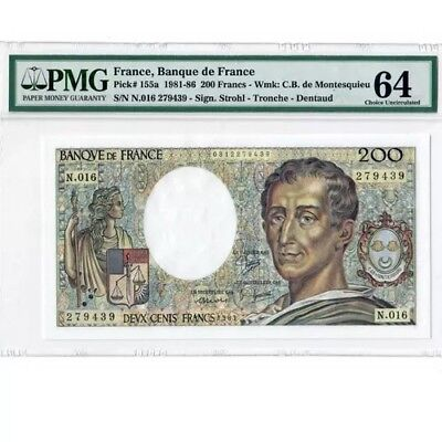 1983 200 Franc note from France graded 64 EPQ by PMG. World Paper Money** WOW