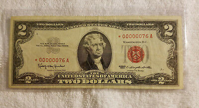 1963 $2 Two Dollar Star Note w/Very Low Serial Number *00000076 Red Seal