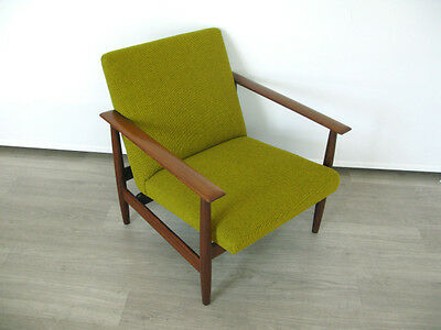 1960s DANISH TEAK GREEN WOOL ARMCHAIR CHAIR FULLY REUPHOLSTERED retro heals 60s