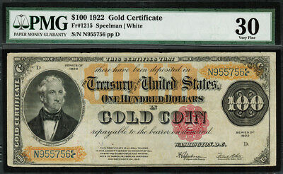 1922 $100 Gold Certificate FR-1215 - Graded PMG 30 - Very Fine