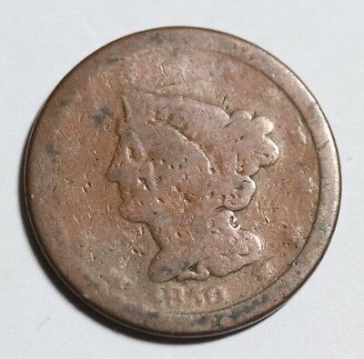 1850 Braided Hair Half Cent USA