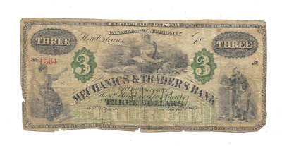 1800's $3 MERCHANTS & TRADERS BANK NEW ORLEANS CERTIFICATE OF DEPOSIT