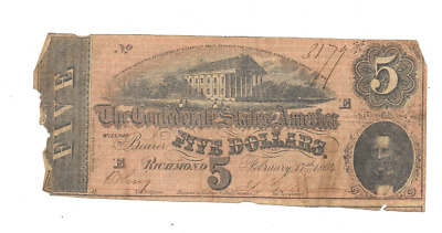 1864 $5 Confederate States Of America Richmond Virginia