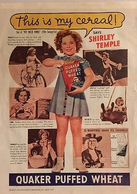 Vintage Quaker Puffed Wheat Cereal Ad Shirley Temple 1937