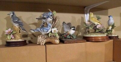 Lot of (5) Andrea By Sadek Bird Figurines...EXCELLENT  4 of 5 have wood bases