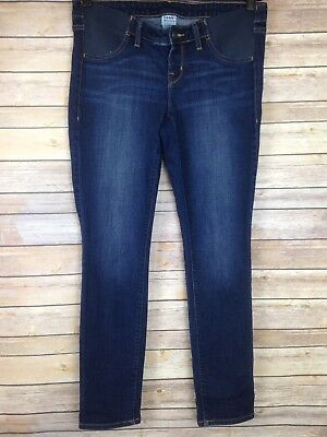 "Old Navy Maternity Jeans Womens Size 8 Dark Wash Skinny Side Panels 30"" Inseam"