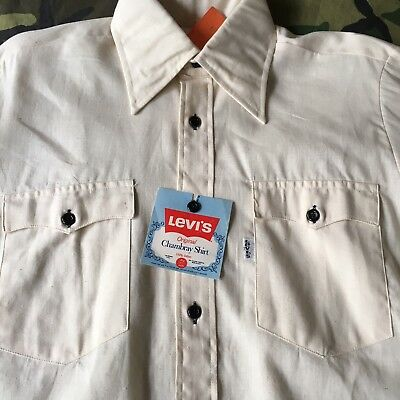 70s vintage levis orange tab chambray work shirt m made in for Usa made work shirts