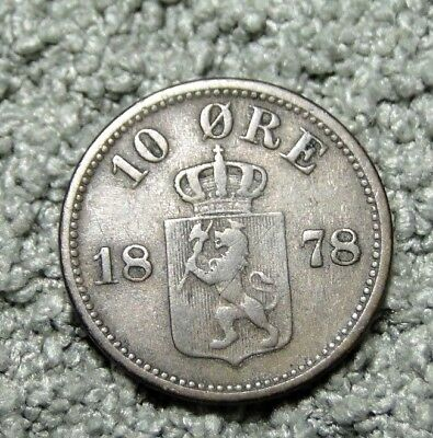 Norway 1878 10 Ore Silver Coin Km # 350
