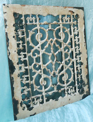 Old Vintage Antique ORNATE Chippy Paint Iron REGISTER GRATE Vent Heat Air COVER