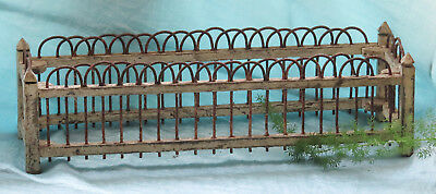 Old Vintage Rusty Arch Fence WIRE & Chippy Paint Wood Table Planter Windox Box