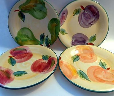 4 Luncheon Plates ~ Fruit ~Plums Pears Peaches Apples ~ Portugal
