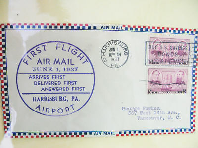 US Stamps 1959 Harrisburg PA Airmail Study In Book
