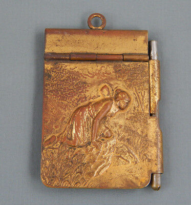Antique Brass Repousse Venus Scene Chatelaine Note Book Dance Card Holder