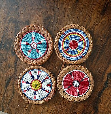 "(4) Native Design Seed Bead,Leather,3"" Rounds,Crafts,Embelishment,Coaster"