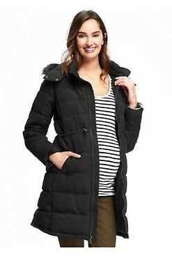 Old Navy Maternity Frost Free Puffer jacket with faux fur hood - Med. black