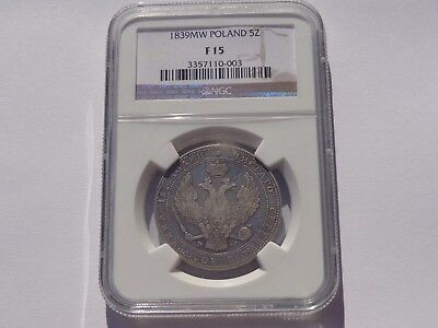 1839 Mw Poland Silver 5 Zlotych / 3/4 Ruble Ngc Fine-15 Very Nice! Must See!