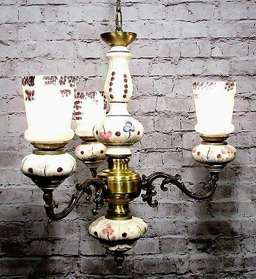 Antique Bronze Chandelier Porcelain Italian Glass Shades Fixture Lamp Pendant