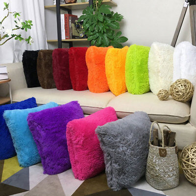 Home Decorative Decoration Plush Square Pillow Case Fur Fluffy Cushion Cover