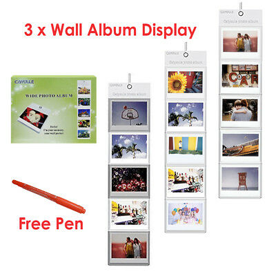 3PCS Wall Hanging Album 5 Pocket For Fujifilm Instax Wide 210 300 Camera Film AU