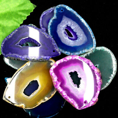 Beautiful Irregular Geode Agate Landscape Slice Pendant YYKJ2
