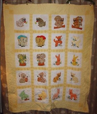 "Vintage CHILDREN'S APPLIQUE & EMBROIDERED QUILT, BABY ANIMALS Dated 1959,56""x76"""