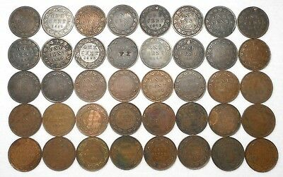 Lot Of 40 Lower Grade/Cull Canada Large Cents - (4) 1859, 1876 H, 1882 H, Etc.