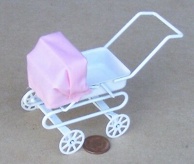 1:12 Scale White Pram + Pink Hood Tumdee Dolls House Miniature Nursery 1843