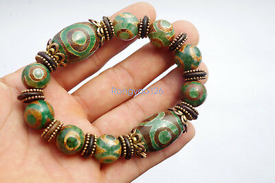 China Tibetan natural green agate jade handmade DZI string bracelets