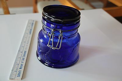 ANTIQUE COBALT Blue GLASS Jar with latch-top lid very heavy