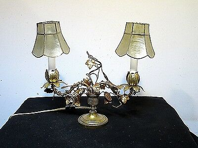 Antique Vintage Table Lamp Italian Gold Tole Dainty Shades