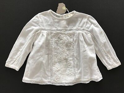 NWT ZARA Baby Girls White Lace Long Sleeve Top Shirt Size 18-24 Months