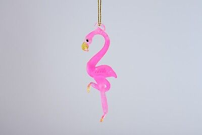 Hanging Pink Flamingo Figurine of Blown Glass Crystal