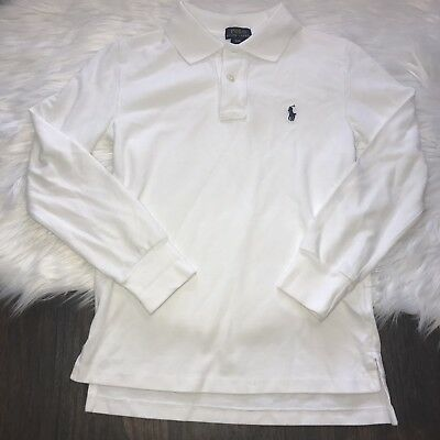 Ralph Lauren Polo Boys Size Small 8 White Long Sleeve Casual Dress Shirt