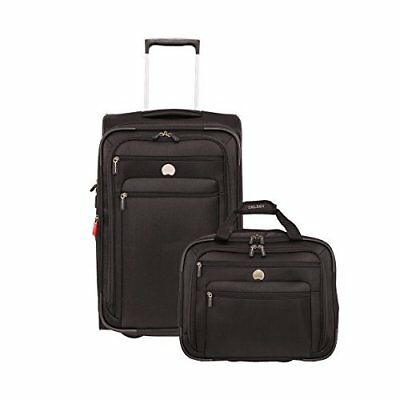 Carry On Luggage Set 2 Pc Personal & Tote Spinner Expandable Nylon Lining Black