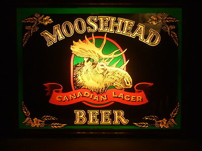 Vintage Moosehead Canadian Larger Beer Wall Mount Lighted Sign  Made In U.s.a.