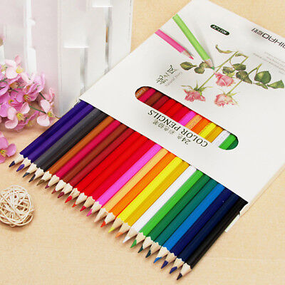24 Colored Pencils Water-color Art Drawing Set For Sketch Drawing Coloring.-