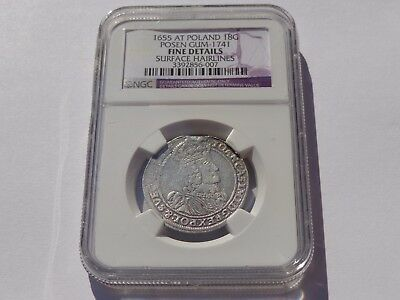1655 At Poland Silver 18 Groszy Posen Gum-1741 Ngc Fine Very Nice! Must See!!