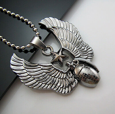 New Unisex's Men's Stainless Steel Pendant Angel wings Grenade Necklace Chain