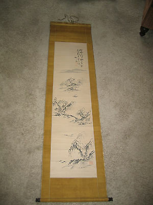 Antique Japanese Landscape Wall Hanging Scroll - Murase Shusui (1794-1876)