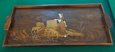 Large Solid Brazilian Rosewood Tray with Wood Inlay Art Scene