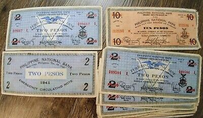 19 lot WW2 Philippine National Bank Emergency 2 TWO PESOS 10 Currency Money 1941