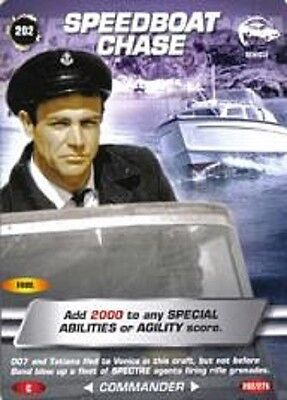 James Bond 007 Spy Card SPEEDBOAT CHASE Trading Card Number 202 COMMON CARD