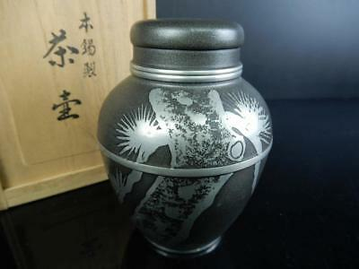 H9828: Japanese XF Tin Pine sculpture TEA CADDY Chaire Container w/signed box