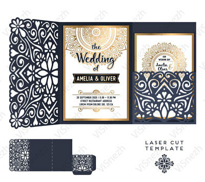 Laser cut Wedding Invitation Template With Pocket. EPS, SVG, CDR, DXF, DWG, AI