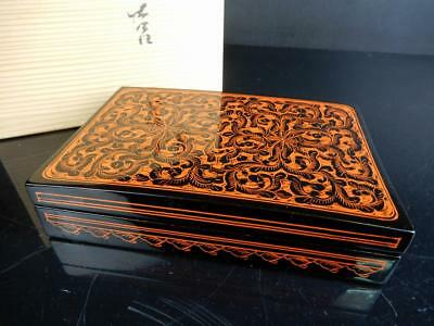 H9936: Japanese WOODEN BOX Lacquer ware Kimuma coating Flower sculpture