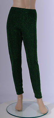 Girls Green Glitter Lurex Leggings Girl's Active Ballet Christmas Dance Gym Xmas