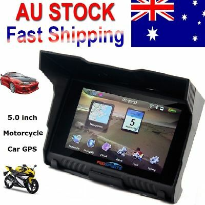 "5.0"" Screen Waterproof Motorcycle Car Bicycle GPS Navigation SAT NAV 8GB AU Maps"