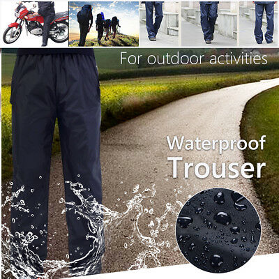 Mens Women Waterproof Over Trousers Rain Pants Motorcycle Fishing Hiking M~2XL